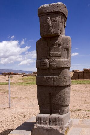 pre columbian: Ponce stela in the sunken courtyard of the Tiwanaku