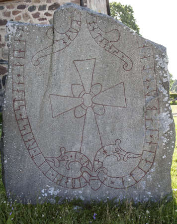 futhark: Runestone U 212, Vallentuna Church   The Jarlabanke Runestones  Swedish  Jarlabankestenarna  is the name of about 20 runestones written in Old Norse with the Younger Futhark rune script in the 11th century, in Uppland, Sweden