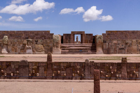 Stone Heads, and Entrance to Kalasaya Compound, Tiwanaku, Bolivia