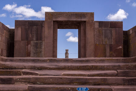 Entrance to Kalasaya Compound, Tiwanaku, Bolivia  Stock Photo