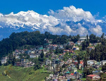 Panoramic view of mount Kanchengjunga, Darjeeling in the foreground