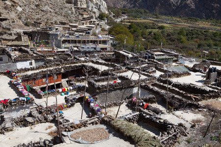 mustang: Rooftop view, Marpa village, Mustang, Nepal. Stock Photo