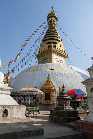 buddhist stupa: Buddhist Stupa Swayambhunath Monkey temple in Kathmandu, Nepal