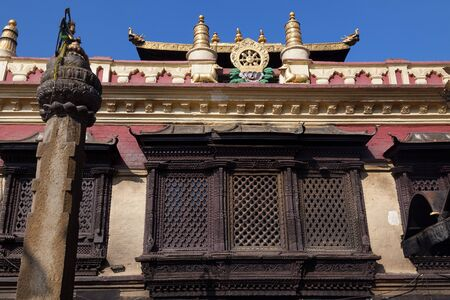 third eye: Buddhist Stupa Swayambhunath Monkey temple in Kathmandu, Nepal