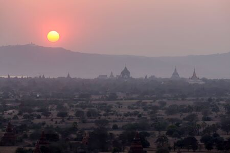 The Temples of Bagan on sunset, Myanmar (Burma) Bagan. From the 9th to 13th centuries, the city was the capital of the Kingdom of Bagan.