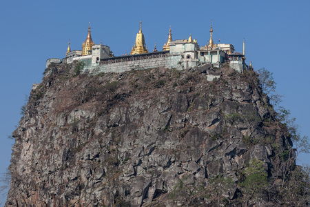Mount Popa with a Buddhist pagodas on the summit, Myanmar