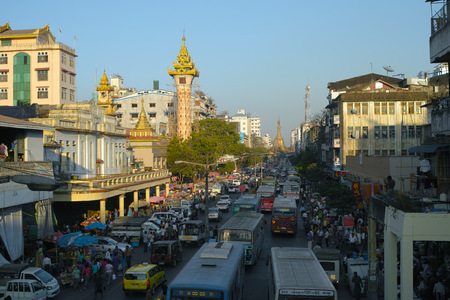 Mahabandoola street, Sule Pagoda and Clock Tower in Yangon, Myanmar