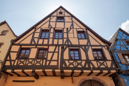 Attractive village Riquewihr in Alsace, France.