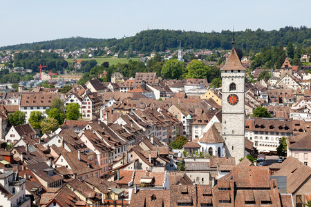 mediaeval: View over mediaeval Old Town of Schaffhausen looms the imposing Munot fortress. Editorial