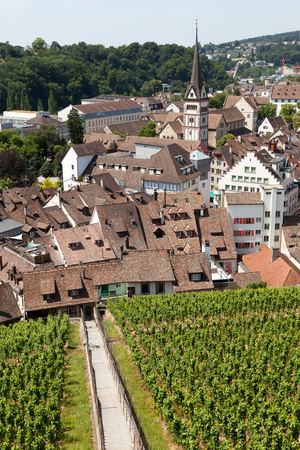 no body: View over mediaeval Old Town of Schaffhausen looms the imposing Munot fortress. Editorial