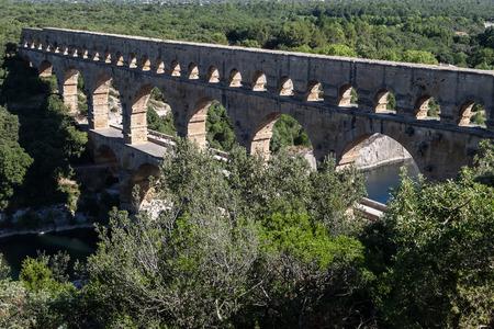 Famouse aqueduct, Pont Du Gard, near Nimes, Provance, France. Stock Photo