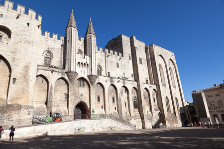 architecture monumental: Pope palace in Avignon, Provance, France Editorial