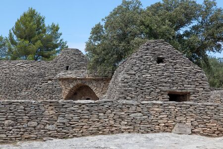 dry stone: Dry Stone Huts In Village Des Bories, Near Gordes, Provence, France Stock Photo