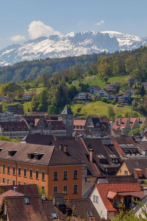 Aerial view of Feldkirch and Alps, Austria. Stock Photo