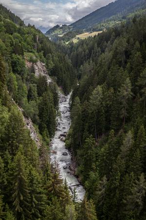 Looking down from the Ernen Goms suspension bridge, Switzerland.