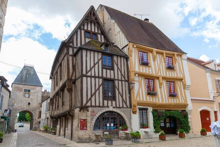 Half-timbered houses in Noyers-sur-Serein, Burgundy, France.
