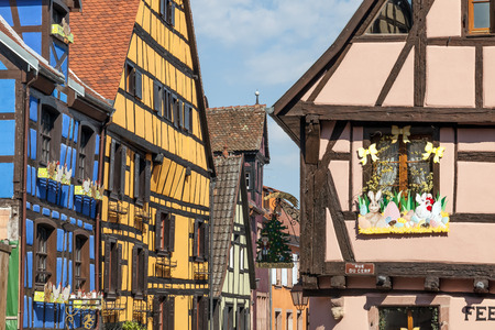 Colorful and picturesque Riquewihr village in Alsace, France. Editorial