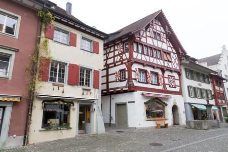 Painted facades in Stein am Rhein, Switzerland, Editorial