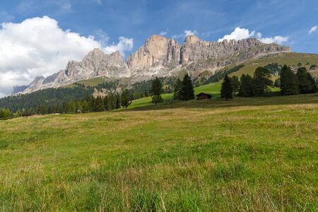 Landscape of Dolomites Mountains, South Tyrol, Alps, Italy.