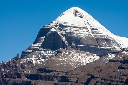 Snow-covered holy Mount Kailash, Tibetan Buddhism, sacred mountain. Tibet, China.