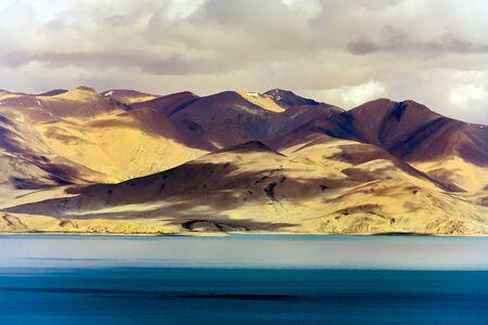 View Rakshas Lake Valley (Tibetan: Lhanag Tso) in Darchen at the foot of Mount Kailash, Tibet, China.