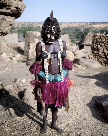 Dogon dancer.  Dogons are living  near the city of Bandiagara in the Mopti region. Mali.
