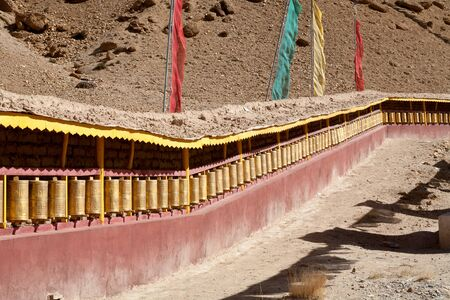 Prayer wheels. Guru Gyem Gompa is one of the largest and most important Bon-po gompas in Tibet.