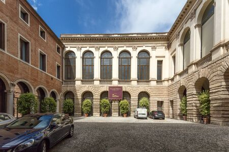 Palazzo Thiene designed for Marcantonio and Adriano Thiene, probably by Giulio Romano, in 1542,[2] and revised during construction from 1544 by Andrea Palladio. Vicenza, Italy. Editorial
