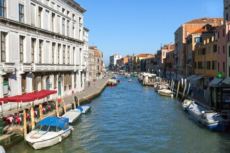 View of boat traffic in Venice canals, Venice, Italy.