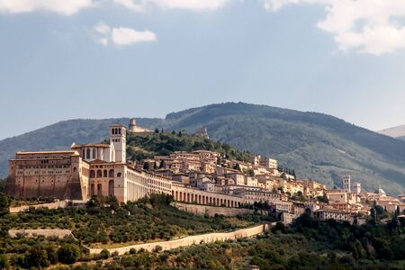 The famous Papal Basilica of Saint Francis of Assisi is the mother church of the Roman Catholic Order commonly known as the Franciscan Order, Assisi, Umbria, Italy.
