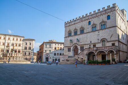 Palazzo dei Priori, Piazza del Comune in Perugia, Umbria, Italy.