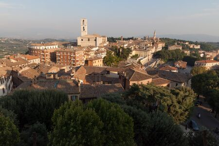 View of Perugia and San Domenico Church, Umbria, Italy.
