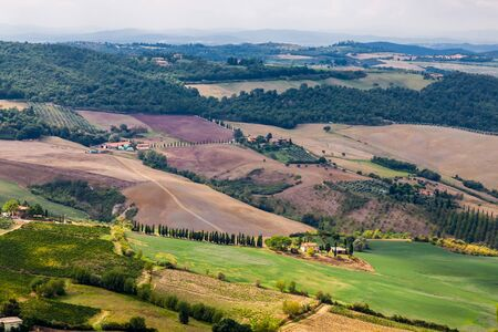Landscape of La Val dOrcia, Italy. Montepulciano is a medieval and Renaissance hill town