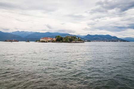 View of Isola Bella. Lake Maggiore is a long, thin lake on the south side of the Alps, shared by Italyâ??s Stock Photo
