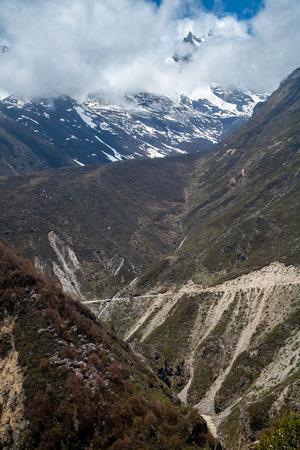 Winding Road in Himalayas mountain range, Tibet, China.