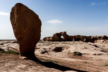 Ruins of Gaochang an ancient oasis city built on the northern rim of the inhospitable Taklamakan Desert in Xinjiang, China. A busy trading center, it was a stopping point for merchant traders traveling on the Silk Route. Gaochang was built in the 1st cent