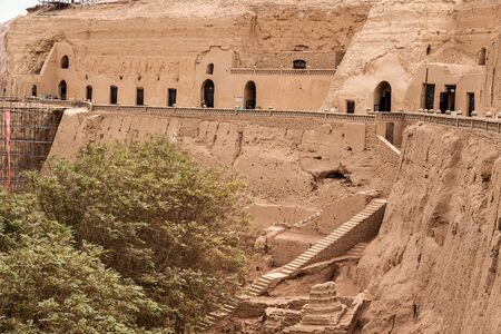 Bezeklik caves are near Turpan in Xinjiang, China. Stock Photo