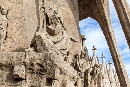 Exterior of Cathedral Sagrada Familia in Barcelona, Catalunia, Spain.