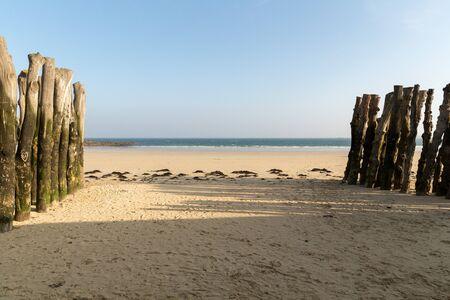 Beach in Saint-Malo, Bretagne, France. Stock Photo
