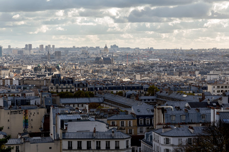 Panorama of Paris from the Sacré-Cœur Basilica. Paris, France.