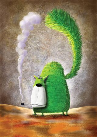 curved leg: Fat green cat smoking pipe.