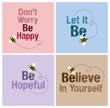 hopeful: Bee card with cheerful massage.with grunge textwordfontgraphic vector