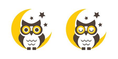 lechuzas: De dibujos animados Búho en el símbolo del icono gráfico vectorial signo de la luna.