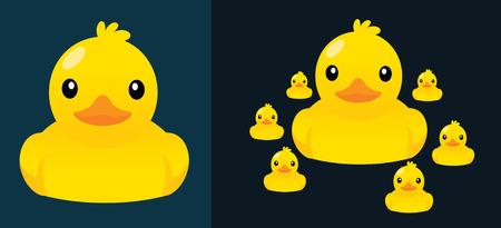 pato caricatura: Patos de dibujos animados vector ilustración lindo. Vectores