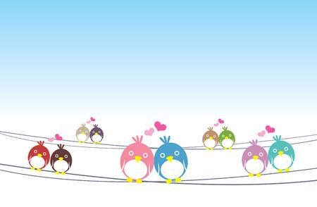 feel good: Birds in love vector cute illustration.