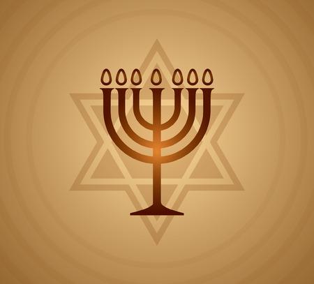 jewish: Gold Jewish Menorah vector.