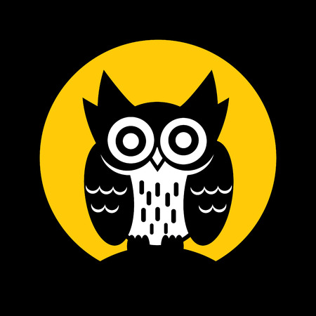 moon  owl  silhouette: Owl vector graphic on moon background.