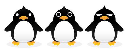 gang: Penguin gang cartoon vector.