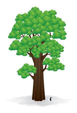 big sign: Big tree and rabbits vector illustration