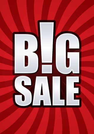Big sale poster vector on spin red background. Vector